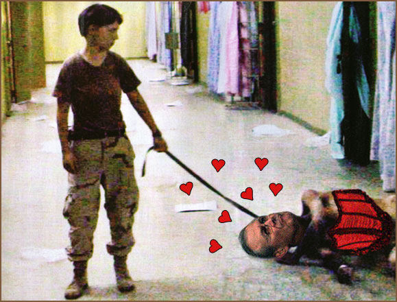 Pfc. Lynndie England has Rumsfeld on a tight leash